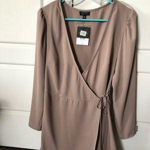 Topshop tan wrap dress